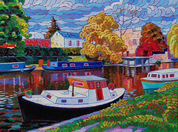 Narrow boats in Cambrige